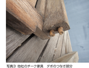写真3: 他社のチーク家具 ダボのつなぎ部分